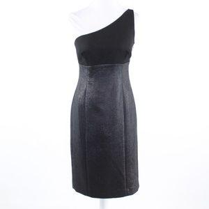 Susana Monaco Black wool one shoulder dress 6